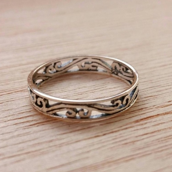 AlphaVariable Jewelry - Sterling Silver Filigree Band Ring Silver Jewelry
